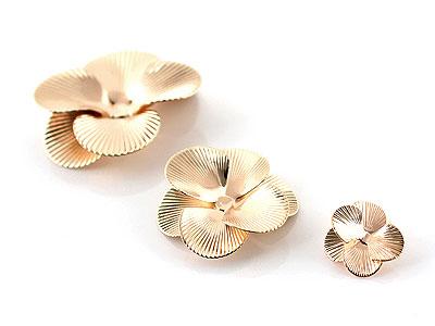 골드입체줄무늬꽃금속장식