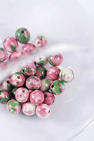 핑크그린천연우화원형구슬