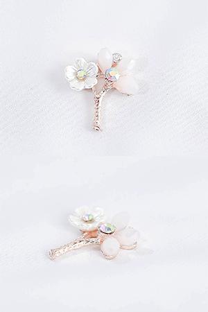 19mm화이트두꽃잎금속장식