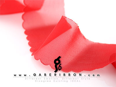 빨강쉬폰라운드열재단리본