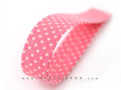 핑크얇은심미니도트파스텔면원단리본